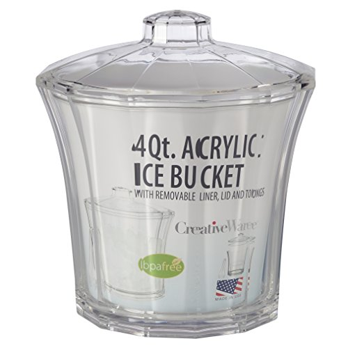 Creative Bath CH502 Fluted Insulated Ice Bucket with Tongs, 1, Clear