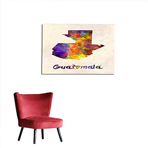 (flybeek Wall Stickers for Girls Guatemala map in Watercolor 24