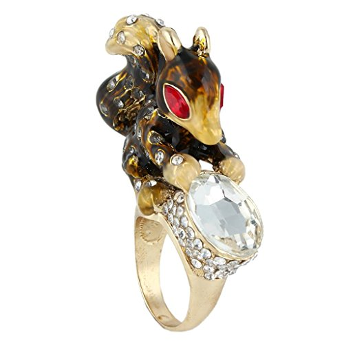 EVER FAITH Enamel Squirrel Oval Brown Austrian Crystal Gold-Tone Ring Size 7