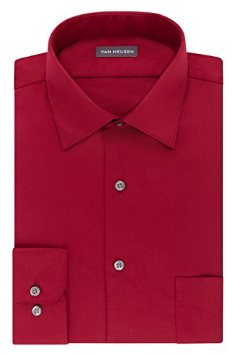 Van Heusen Men's Dress Shirts Regular Fit Lux Sateen Stretch Solid, red, 16.5