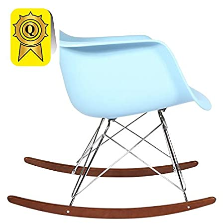 Sitz Orange DP-RARD-OR-1 Decopresto 1 x Schaukelstuhl Eiffel Inspiration Walnut Beine Chrom