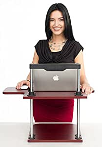 Height Adjustable Standing Desk Sit To Stand Converter - Stand Up or Sitting Workstation - Cherry