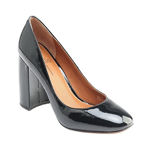 Black Crinkled Patent Leather (Linea Paolo Brooke Women's Pumps - Block Heeled Pump Black Crinkled Patent 5.5M)