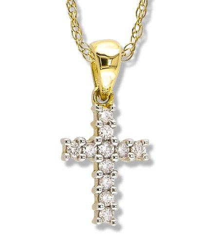 Petite Prong Set Diamond Cross
