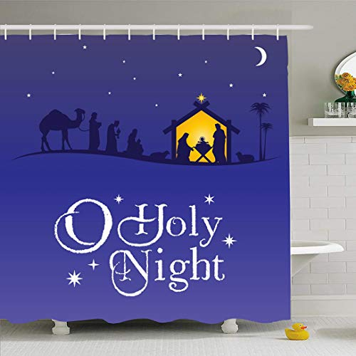 Ahawoso Shower Curtain for Bathroom 60x72 Christmas Birth Night Scene Design Baby Star Holiday Silhouette Holidays Merry King Manger Child Wise Waterproof Polyester Fabric Bath Decor Set with Hooks