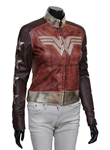 Adult Wonder Woman Halloween Costume Clothing- 2017 Brown Waxed Jacket, M