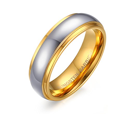His Her Two-tone Gold Plated Domed Couples Wedding Engagement Ring, Tungsten Carbide Bands, 6mm, size 7 by Melaguet Jewelry