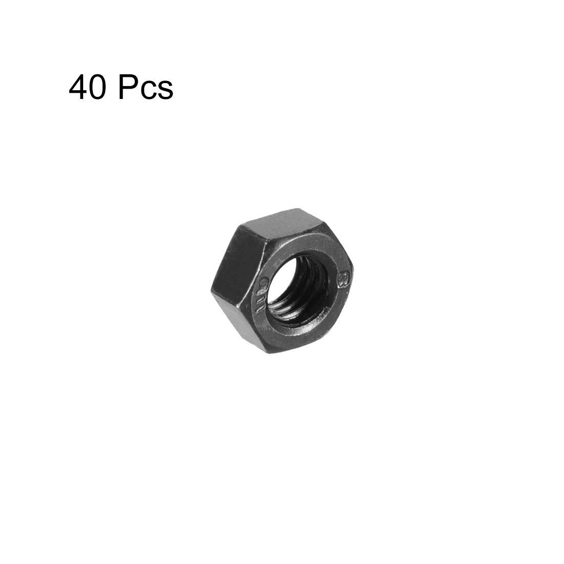 sourcing map Tuerca hexagonal de material de acero al carbono niquelados hexagonal M4 con un tono plateado 100 piezas