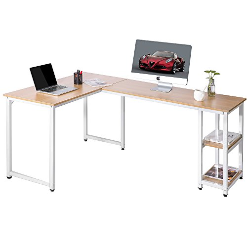 ModernLuxe L-Shape Home Office Corner Computer Desk PC Laptop Table Workstation with Shelves (Oka)