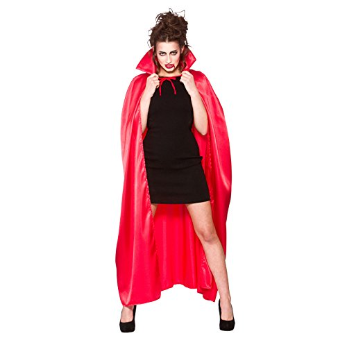 Adult Hooded Satin Cape Red Fancy Dress Halloween Vampire Super Wizard -