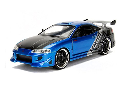 NEW 1:24 JADA TOYS DISPLAY JDM TUNERS COLLECTION - Blue 1995 Mitsubishi Eclipse Bride Diecast Model Car By Jada Toys (WITHOUT RETAIL BOX)