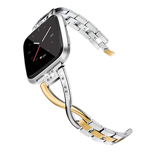 Wearlizer Compatible Metal Fitbit Versa Bands for Women, Fitbit Versa Bands Accessories Rose Gold Silver Black Small Large Strap Gold + Silver