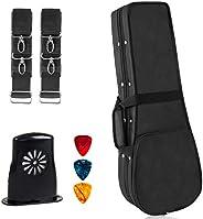 Ukulele Carrying Case Oxford Cloth Hard Protective velvet Interior Ukuleles Gig Bag Black With Double Straps H