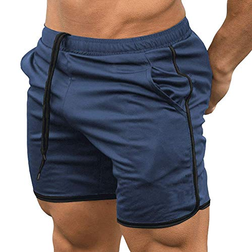 EVERWORTH Men's Gym Workout Boxing Shorts Running Short Pants Fitted Training Bodybuilding Jogger Short Navy L Tag XXL (Short Gym Shorts For Men)