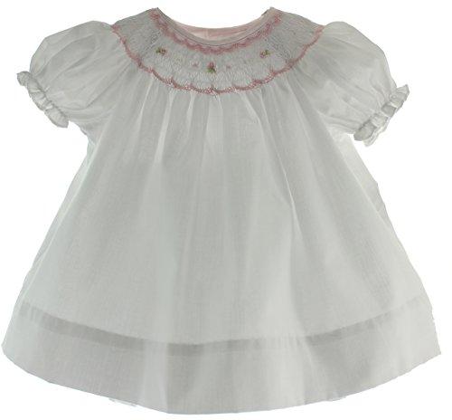 Girls White Smocked Dress Pink Smocking Diaper Panty Set 6M