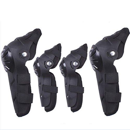 Set di 4 ginocchiere e gomitiere anatomiche per motociclismo fuoristrada o professionale motocross di colore nero corse e competizioni motociclistiche con cinturini elastici regolabili