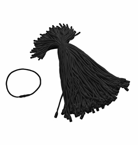 Tupalizy Black Cotton Gift Clothing Price Tag String Hanging Rope Bullet Snap Lock Pin Loop Fastener Hook Ties for Luggage Label Attachment,7.5 Inch, 100PCS