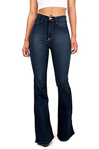 - Vibrant Women's Juniors Bell Bottom High Waist Fitted Denim Jeans,Super Dark Denim,13