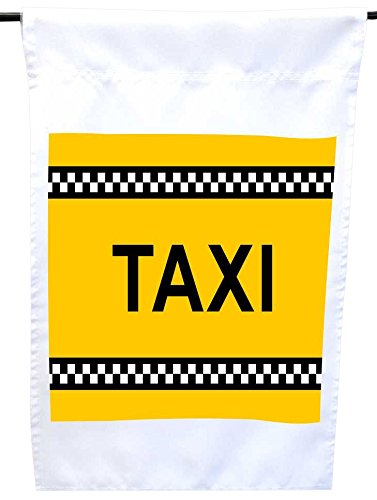 Rikki Knight Yellow New York Taxi House or Garden Flag, 12 x 18-Inch Flag Size with 11 x 11-Inch Image