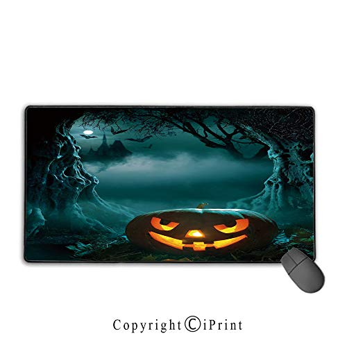 Mouse pad with Lock,Halloween,Carved Pumpkin in Dark Misty Forest Ancient Trees Gloomy Scenic Horror Theme,Teal Orange,Premium Textured Fabric, Non-Slip Rubber Base,9.8