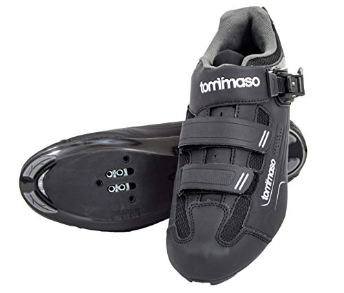 tommaso Strada 200 Dual Cleat Compatible Road Touring Cycling Spin Shoe with Buckle - 48 Black