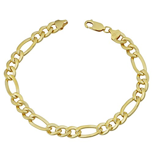 - Mens 14k Yellow Gold Filled Solid High Polish Figaro Link Bracelet (7.8mm, 9 inches)