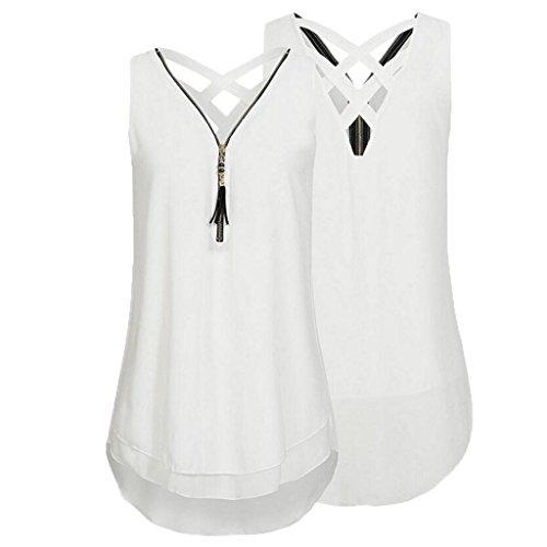 Tank Reißverschluss Elegant Hemdbluse Weiß Vorne Unterhemd aushöhlen Sommer Weste Tops Rovinci zurück Bluse Ärmellos Frauen Shirt Unregelmäßigkeit Damen Chiffon T V Ausschnitt xqYpva