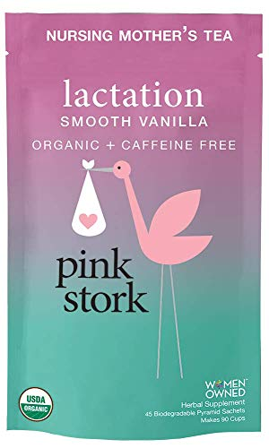 Pink Stork Lactation: Smooth Vanilla Nursing Support Tea -Organic Loose Leaf Tea in Biodegradable Sachets -Natural Breastfeeding Support -Enhance Breast Milk Nutrition, Supply, 90 Cups