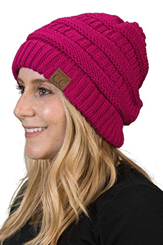 (Funky Junque H-6020a-24 Solid Ribbed Beanie - Hot Pink)