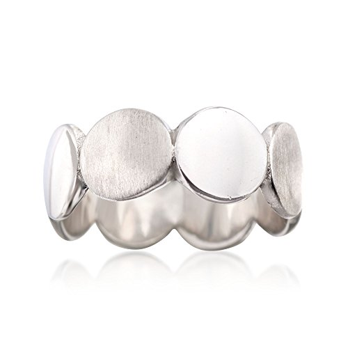 Ross-Simons Italian Sterling Silver Brushed and Polished Discs Ring
