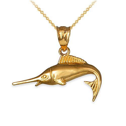LA BLINGZ 14K Yellow Gold Marlin Fish Necklace (20) ()