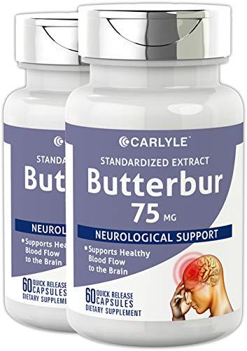 (Carlyle Butterbur Extract Standardized 75 mg 120 Capsules - Migraine Headache Formula - Non-GMO, Gluten Free, PA Free)