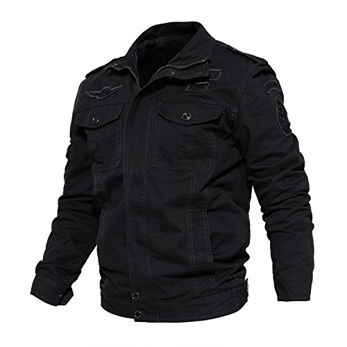 CRYSULLY Men's Spring Windproof Air Force Coat Cargo Cotton Utility Full Zip Military Jacket Black/US L/Tag 4XL