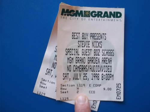 Two Original Ticket Stubs to Stevie Nicks Concert at the MGM Grand Hotel, Garden Arena, Saturday, July 25, 1998 (Special Guest Boz Scaggs) (Nick Hotel Tickets compare prices)