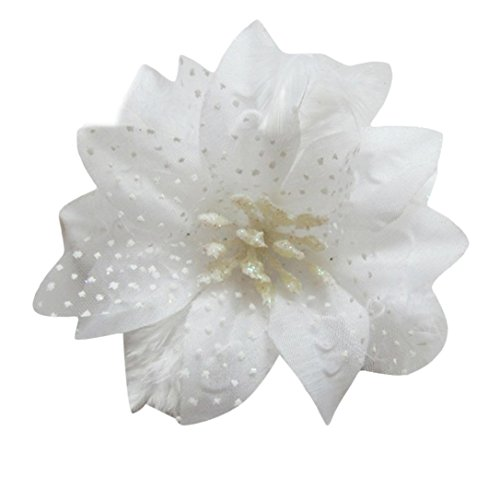 Botrong Flower Feather Hair Clip Brooch for Women Girl (White) -