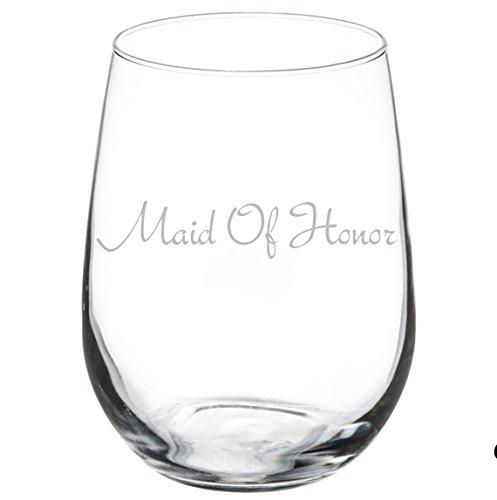 Wine Glass Goblet Wedding Bachelorette Maid of Honor (17 oz Stemless)