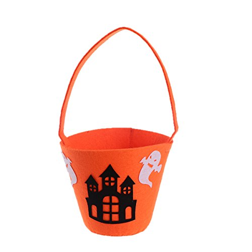 Tinksky Halloween Bag Pumpkin Trick or Treat for Kids Cookies Gifts Candy Bag Bucket Barrel Tote Handbag Sweet Goodies Holder for Halloween Cosplay Costumes Decor Party Favors (Castle (Purse Cookie Favor)