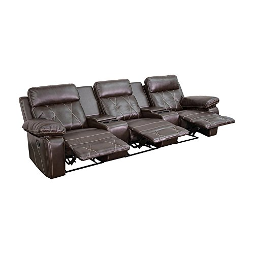 Offex Real Comfort Series 3-seat Reclining Leather Theater Seating Unit with Straight Cup Holders Brown