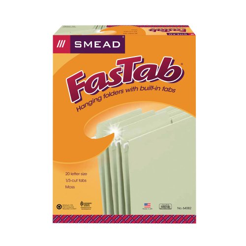 Smead FasTab Hanging File Folder,  1/3-Cut Built-In Tab, Letter Size, Moss, 20 per Box (64082) (File Folder Letter 1/3 Tab)