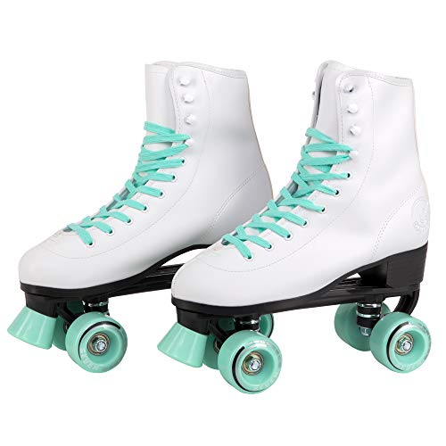 (C7 Classic Roller Skates | Retro Soft Boot with Faux Leather | Speedy Quad Style for Men, Women and Kids (Mint/Men's 8 / Women's)
