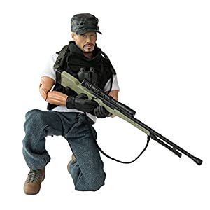 Army Men by World Peacekeepers Action Figures: 30-Pt. Full-Motion 12-Inch Army Toys w/ Ninja Grip, Military Sniper Rifle, Binocs & Pack (Undercover Sniper)