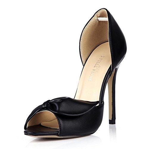 KUKIE Best 4U? Sandalias de verano para mujer, de poliuretano de alta calidad, 12 cm, tacón alto, suela de goma, zapatos negros