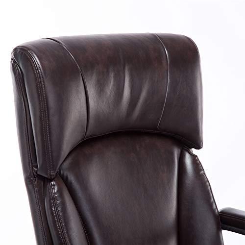 GLMAS Stolar, kontorsstolar, fåtöljer, kontorsstol datorstol spelstol verkställande kontorsstol, hem svängbar stol bekväm lyftstol nylon glidande fötter mörkbrun