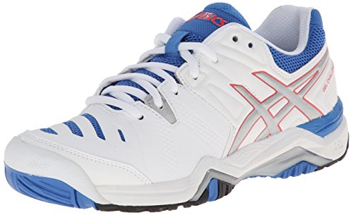 (ASICS Women's Gel-Challenger 10 Tennis Shoe, White/Silver/Powder Blue,5 M US )