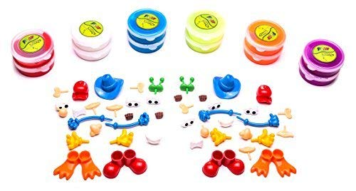 MMP Living Play Putty - Character Creation Play Set - Over 12.5oz of Putty in red, White, Purple, Blue, neon Orange, neon Lime + 44 Character Accessory Pieces