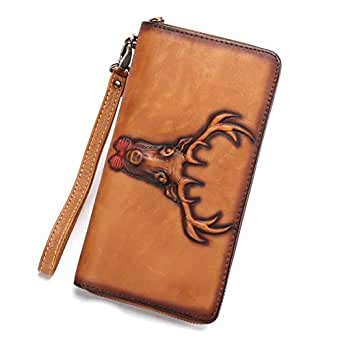 Leather Wallet for Women Deer Pattern Vintage Handmade Long Purse Zip Around Clutch - brown - One Size