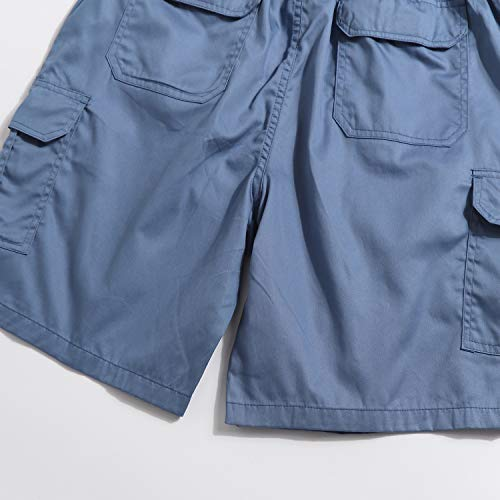 APTRO Elastic Waistband Cotton Cargo Shorts Relaxed Fit Casual Shorts with Drawstring