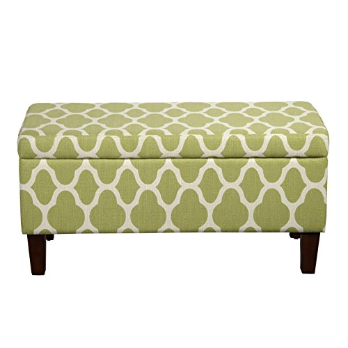 Kinfine Large Upholstered Storage Ottoman Bench with Hinged Lid, Green Geometric (Wide Upholstered Bench)