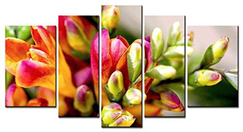 Freesia Canvas (SmartWallArt - Flower Series Home Decor Artwork Fleur-de-lis Common Freesia Means Pure Wall Art 5 Piece Paintngs Print on Canvas Framed for Living)