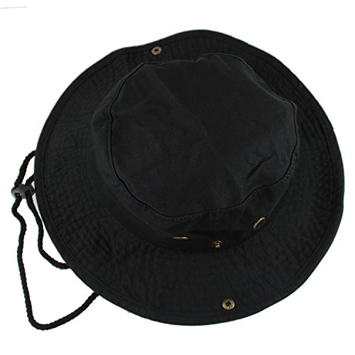 Gelante 100% Cotton Stone-Washed Safari Booney Sun Hats 1910-Black-L/XL